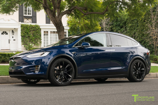 Deep Blue Metallic Tesla Model X with Matte Black 22 inch TSS Flow Forged Wheels by T Sportline 4