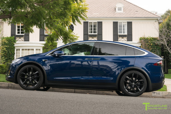 Deep Blue Metallic Tesla Model X with Matte Black 22 inch TSS Flow Forged Wheels by T Sportline 3
