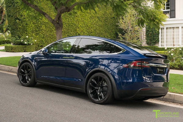 Deep Blue Metallic Tesla Model X with Matte Black 22 inch TSS Flow Forged Wheels by T Sportline 2