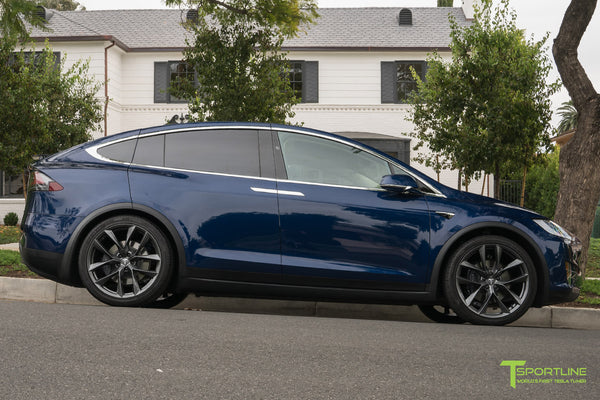 Deep Blue Metallic Tesla Model X with Space Gray 22 inch TSS Flow Forged Wheels by T Sportline 3