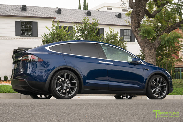 Deep Blue Metallic Tesla Model X with Space Gray 22 inch TSS Flow Forged Wheels by T Sportline 2