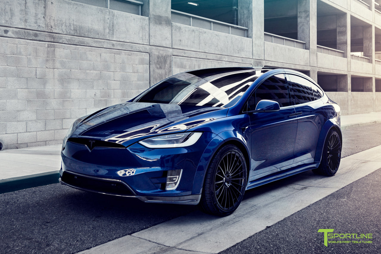Deep Blue Metallic Tesla Model X P100D T Largo Carbon Fiber Wide Body package - Bespoke Ferrari Tan Leather Interior - Matte Black 22 inch Wide Body Forged Tesla Wheels - Carbon Fiber Trim by T Sportline 21