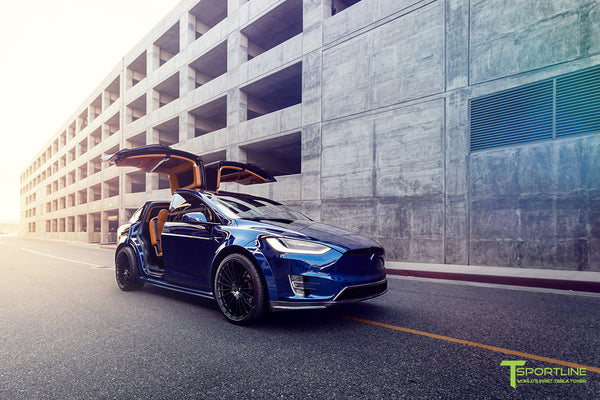Deep Blue Metallic Tesla Model X P100D T Largo Carbon Fiber Wide Body package - Bespoke Ferrari Tan Leather Interior - Matte Black 22 inch Wide Body Forged Tesla Wheels - Carbon Fiber Trim by T Sportline 20