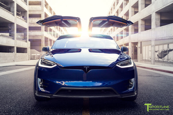 Deep Blue Metallic Tesla Model X P100D T Largo Carbon Fiber Wide Body package - Bespoke Ferrari Tan Leather Interior - Matte Black 22 inch Wide Body Forged Tesla Wheels - Carbon Fiber Trim by T Sportline 18
