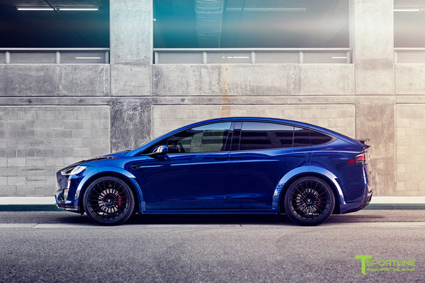 Deep Blue Metallic Tesla Model X P100D T Largo Carbon Fiber Wide Body package - Bespoke Ferrari Tan Leather Interior - Matte Black 22 inch Wide Body Forged Tesla Wheels - Carbon Fiber Trim by T Sportline 17