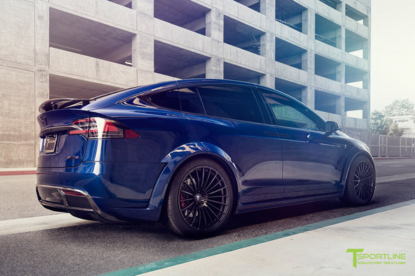 Deep Blue Metallic Tesla Model X P100D T Largo Carbon Fiber Wide Body package - Bespoke Ferrari Tan Leather Interior - Matte Black 22 inch Wide Body Forged Tesla Wheels - Carbon Fiber Trim by T Sportline 16