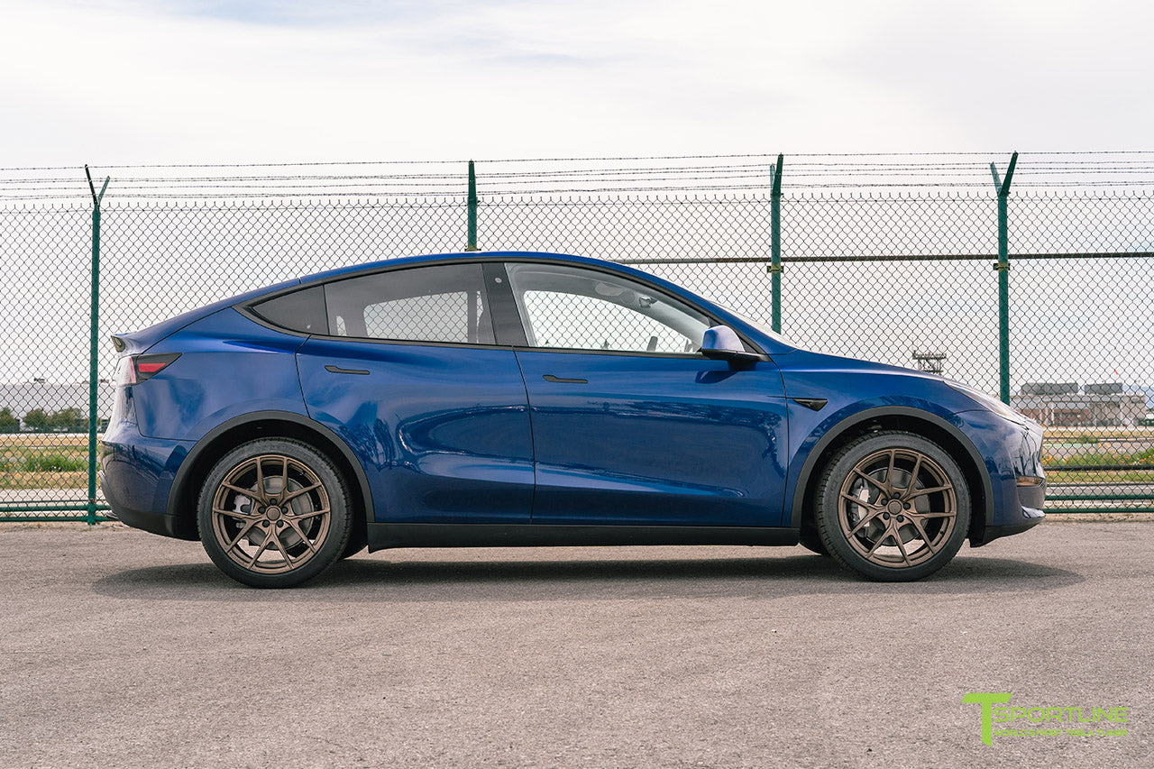 Deep Blue Metallic Tesla Model Y with Jupiter Bronze 20 inch Falcon Aftermarket Flow Forged Wheels by T Sportline