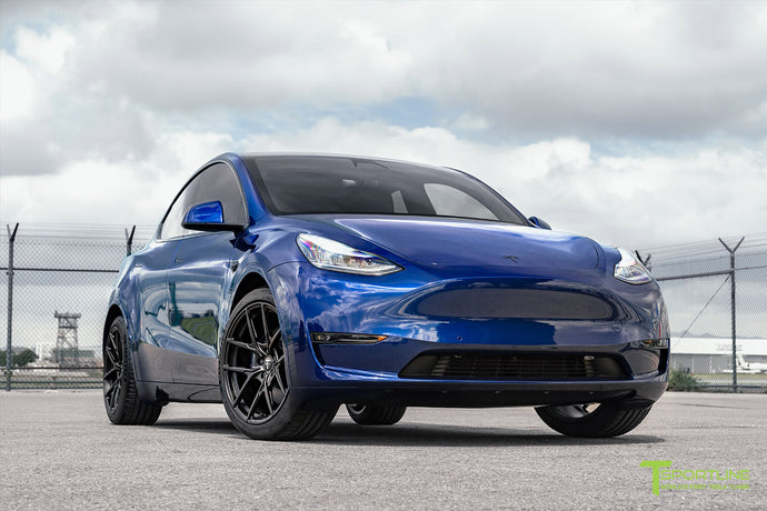 "Deep Blue Metallic Tesla Model Y Performance with 20"" Falcon Y Wheels"