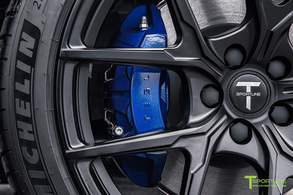 Deep Blue Metallic Tesla Model Y Performance with Deep Blue Metallic Brake Calipers by T Sportline