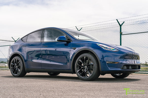 Deep Blue Metallic Tesla Model Y with 20 inch TSS Flow Forged Wheels in Gloss Black by T Sportline
