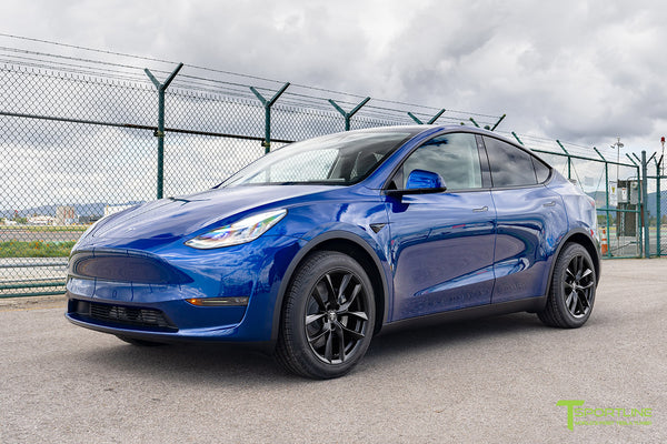 Deep Blue Metallic Tesla Model Y with Matte Black 19 inch TSS Flow Forged Wheels by T Sportline
