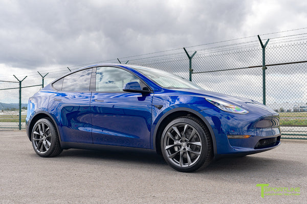 Deep Blue Metallic Tesla Model Y with Space Gray 20 inch TSS Flow Forged Wheel by T Sportline 1