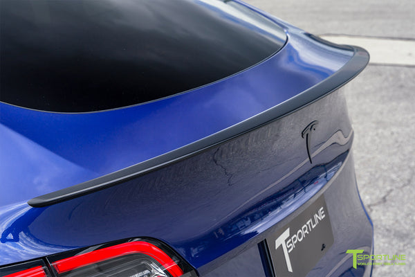 Deep Blue Metallic Tesla Model Y Performance with Satin Black Factory Trunk Wing by T Sportline