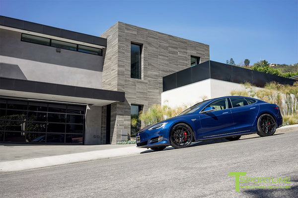 Deep Blue Metallic Tesla Model S 2.0 with Gloss Black 21 inch TS115 Forged Wheels 1