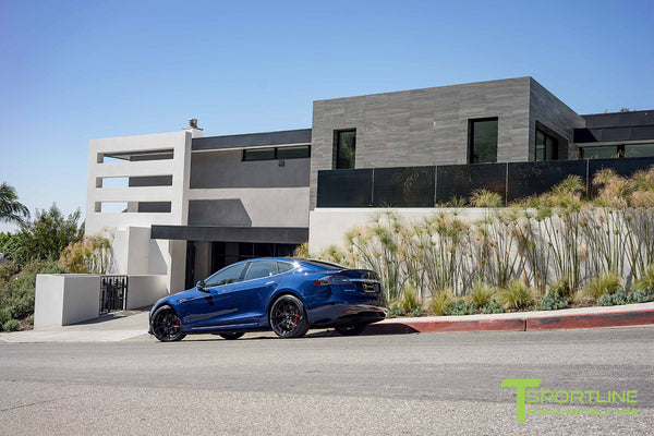 Deep Blue Metallic Tesla Model S 2.0 with Gloss Black 21 inch TS115 Forged Wheels 2