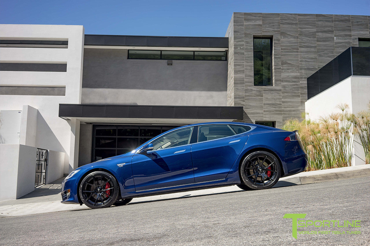 Deep Blue Metallic Tesla Model S 2.0 with Gloss Black 21 inch TS115 Forged Wheels 3