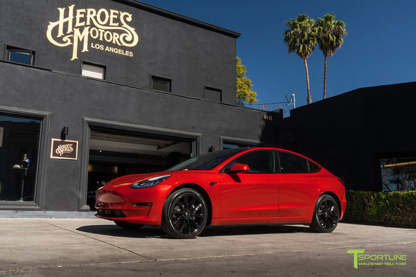 Dragon Fire Red Tesla Model 3 with Gloss Black 19 inch TST Turbine Style Wheels by T Sportline 4