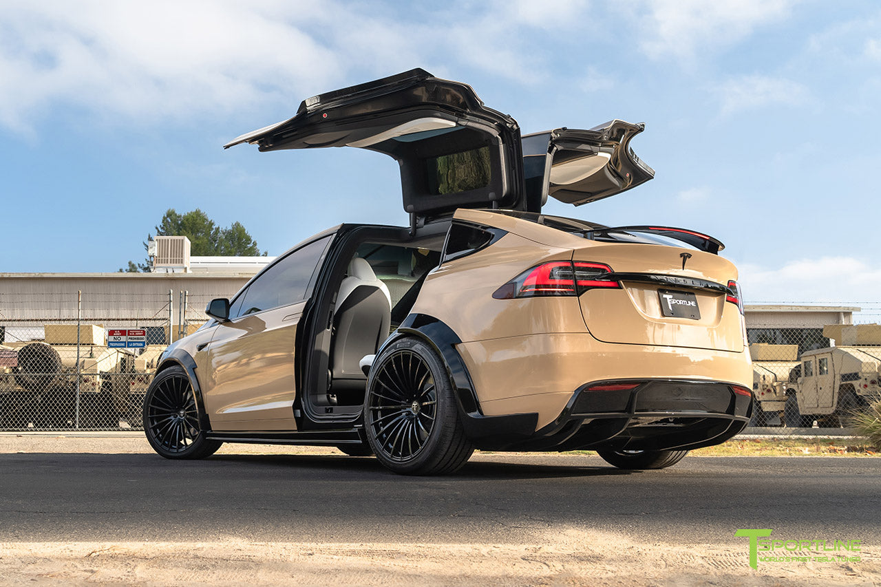Gloss Desert Sand Tesla Model X T Largo Carbon Fiber Wide Body Package