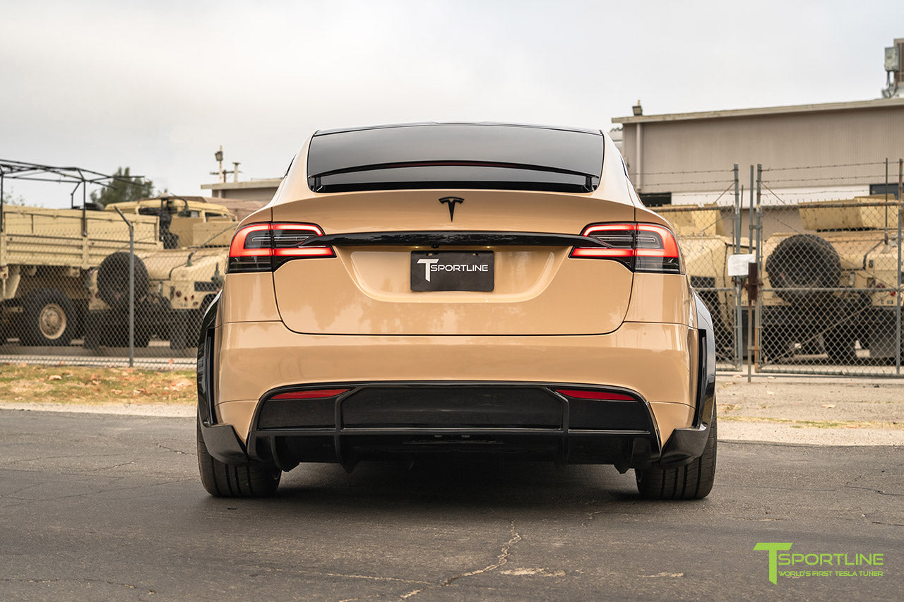 Gloss Desert Sand Tesla Model X with Gloss Black Chrome Delete
