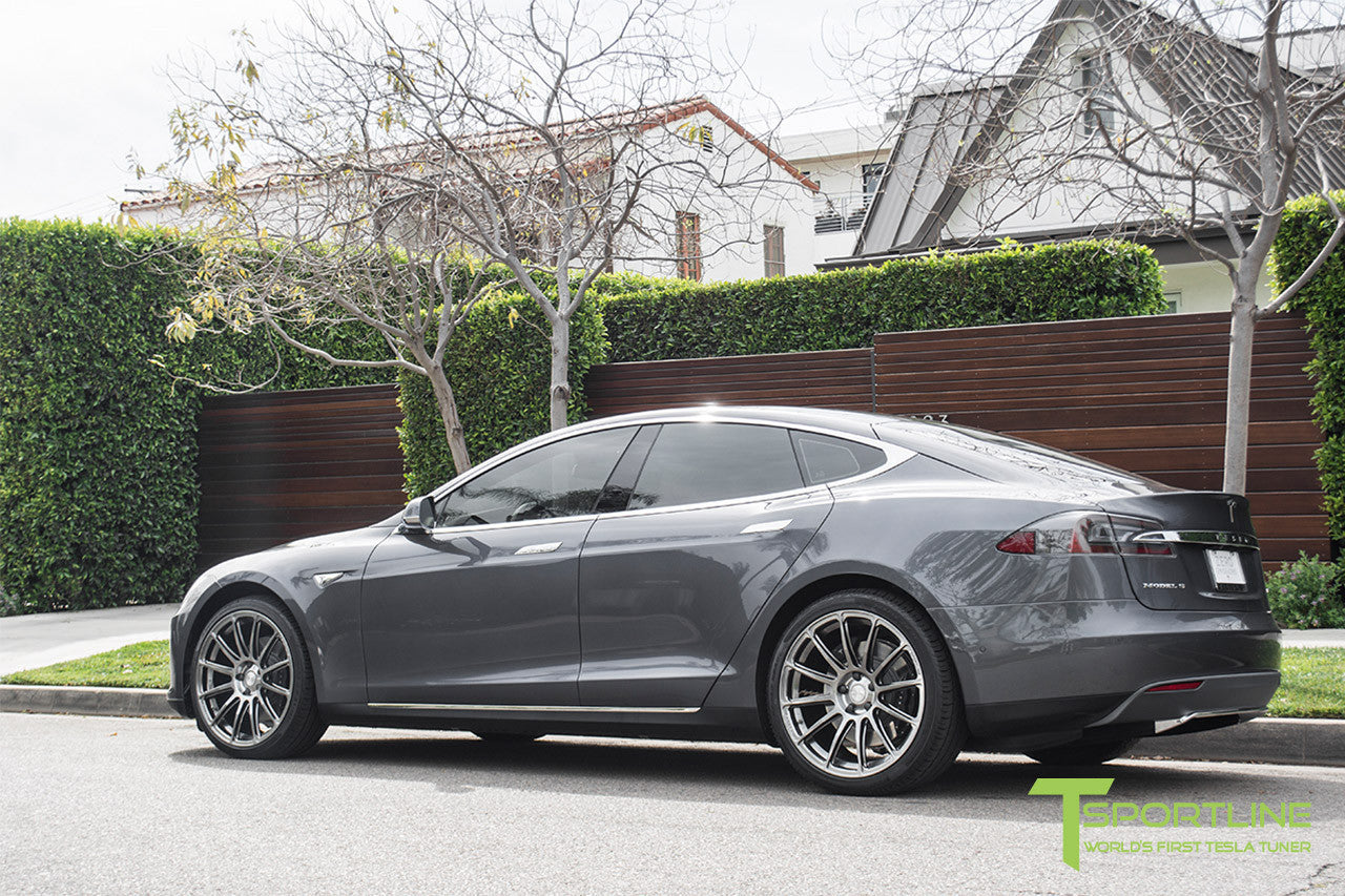 Gray Tesla Model S 1.0 with Brush Satin 21 inch TS112 Forged Wheels