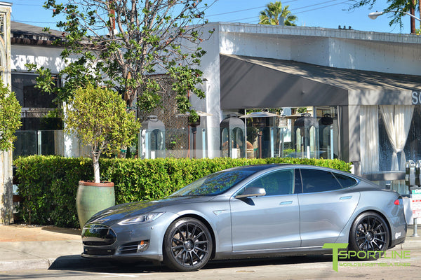 Gray Tesla Model S 1.0 with Matte Black 21 inch TS112 Forged Wheels 1