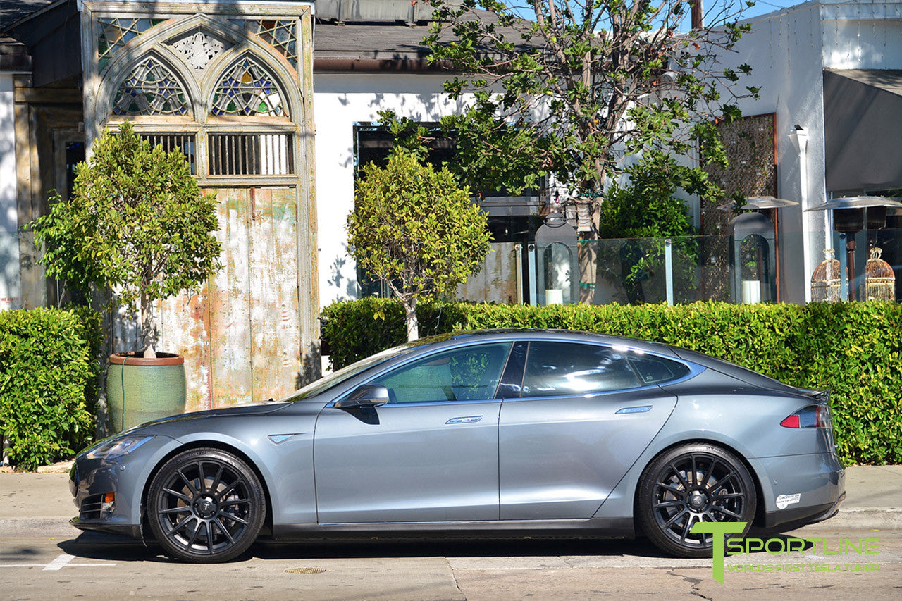 Gray Tesla Model S 1.0 with Matte Black 21 inch TS112 Forged Wheels 2
