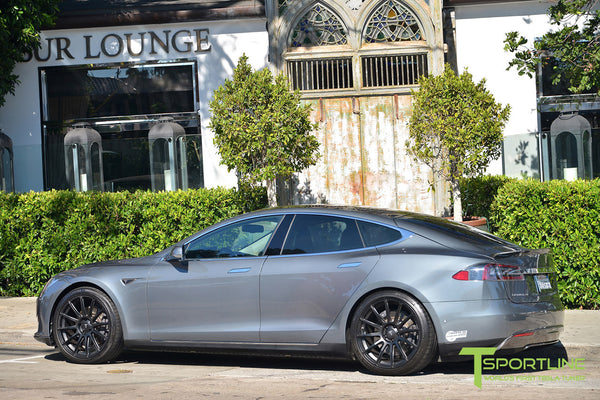 Gray Tesla Model S 1.0 with Matte Black 21 inch TS112 Forged Wheels 3