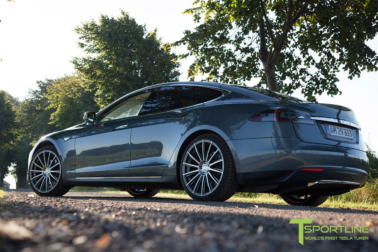 Gray Tesla Model S 1.0 with Custom Gray 21 inch TS114 Forged Wheels