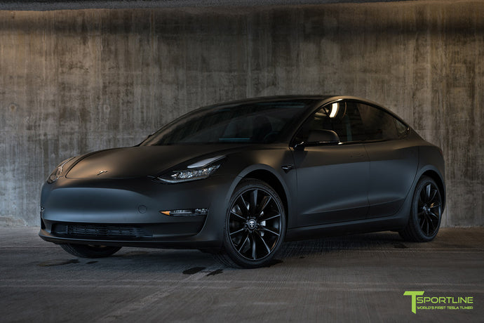 Matte Black Tesla Model 3 with Satin Black Chrome Delete, Window Tint, Matte Black 19 inch TST Wheels, and Lug Nut Cover by T Sportline 7
