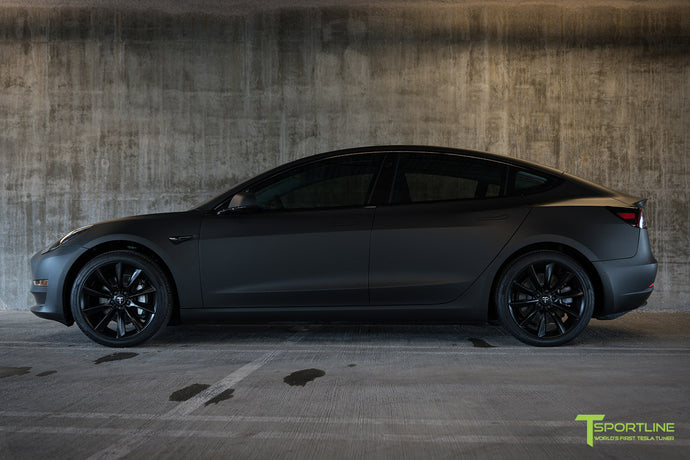Matte Black Tesla Model 3 with Satin Black Chrome Delete, Window Tint, Matte Black 19 inch TST Wheels, and Lug Nut Cover by T Sportline 6