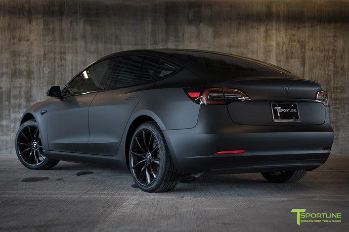 Matte Black Tesla Model 3 with Satin Black Chrome Delete, Window Tint, Matte Black 19 inch TST Wheels, and Lug Nut Cover by T Sportline 5