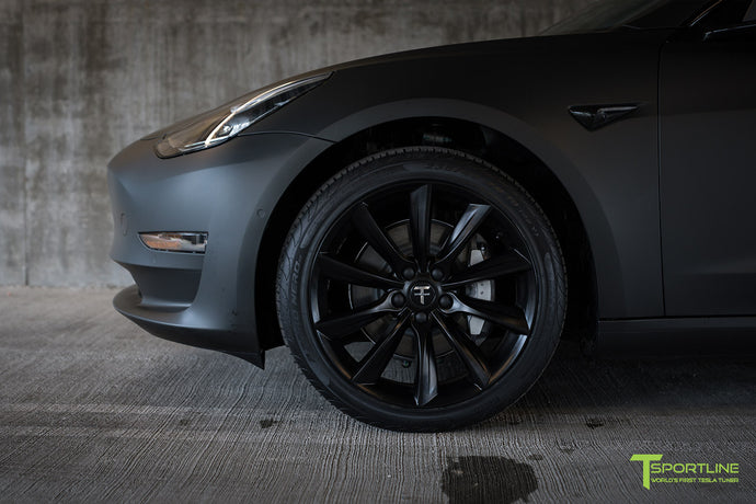 Matte Black Tesla Model 3 with Satin Black Chrome Delete, Window Tint, Matte Black 19 inch TST Wheels, and Lug Nut Cover by T Sportline 4