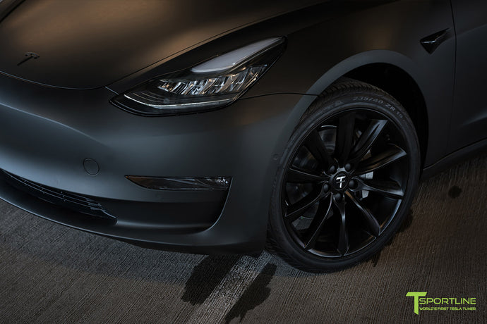 Matte Black Tesla Model 3 with Satin Black Chrome Delete, Window Tint, Matte Black 19 inch TST Wheels, and Lug Nut Cover by T Sportline 2