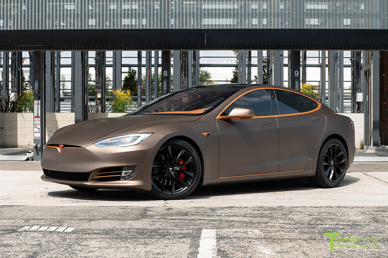 Project Muthayga - Matte Brown Metallic Wrapped Tesla Model S 2.0 (2016 Facelift) with Matte Copper Metallic Chrome Delete, 20 inch TSS Flow Forged Arachnid Style Wheels in Matte Black by T Sportline 1