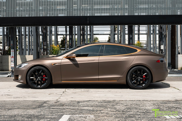 Project Muthayga - Matte Brown Metallic Wrapped Tesla Model S 2.0 (2016 Facelift) with Matte Copper Metallic Chrome Delete, 20 inch TSS Flow Forged Arachnid Style Wheels in Matte Black by T Sportline 2