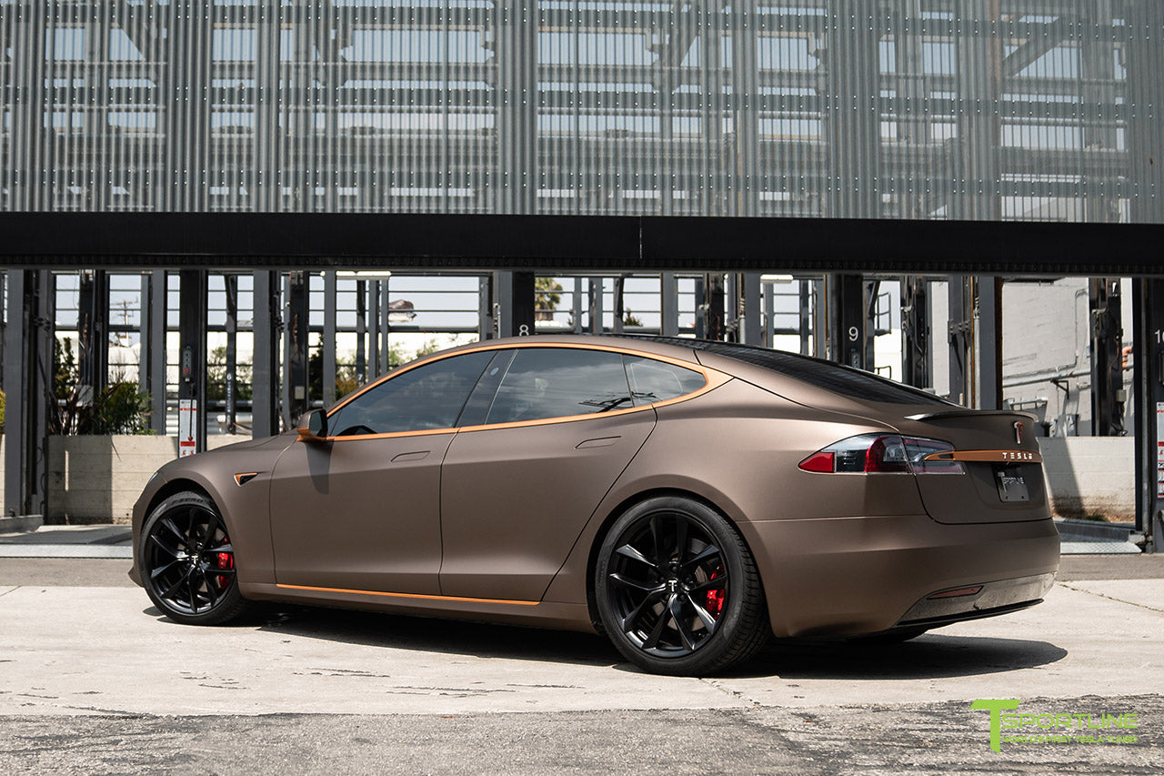 Project Muthayga - Matte Brown Metallic Wrapped Tesla Model S 2.0 (2016 Facelift) with Matte Copper Metallic Chrome Delete, 20 inch TSS Flow Forged Arachnid Style Wheels in Matte Black by T Sportline 3