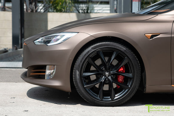 Project Muthayga - Matte Brown Metallic Wrapped Tesla Model S 2.0 (2016 Facelift) with Matte Copper Metallic Chrome Delete, 20 inch TSS Flow Forged Arachnid Style Wheels in Matte Black by T Sportline 4