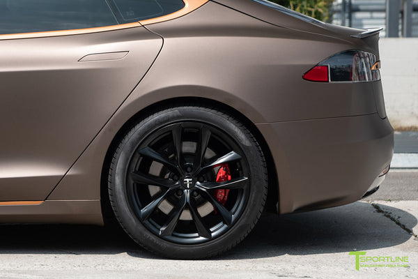 Project Muthayga - Matte Brown Metallic Wrapped Tesla Model S 2.0 (2016 Facelift) with Matte Copper Metallic Chrome Delete, 20 inch TSS Flow Forged Arachnid Style Wheels in Matte Black by T Sportline 5