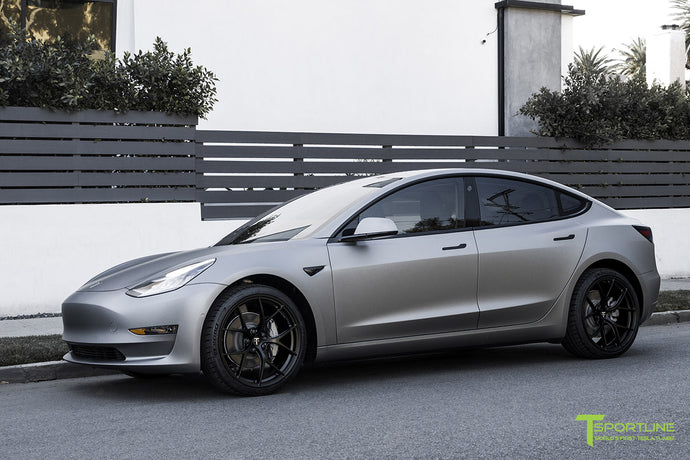 Matte Metallic Gunmetal Tesla Model 3 - Custom Black Leather Diamond