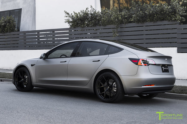 Matte Gunmetal Metallic Tesla Model 3 with 20