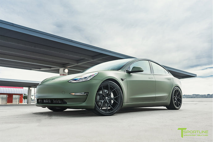 "Matte Military Green Tesla Model 3 with 20"" M3115 Forged Wheels"