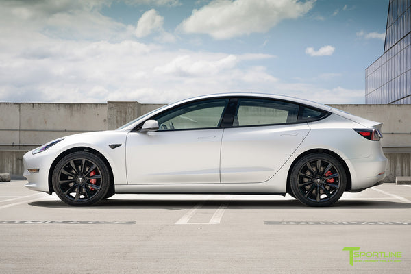 Matte Silver Tesla Model 3 with Gloss Black 19 inch TST Turbine Style Wheels by T Sportline 3