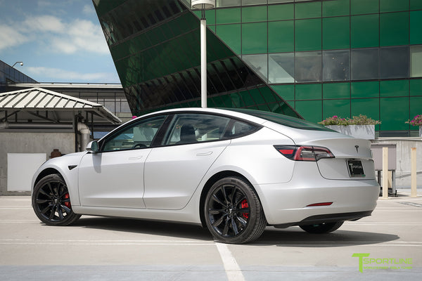 Matte Silver Tesla Model 3 with Gloss Black 19 inch TST Turbine Style Wheels by T Sportline 2