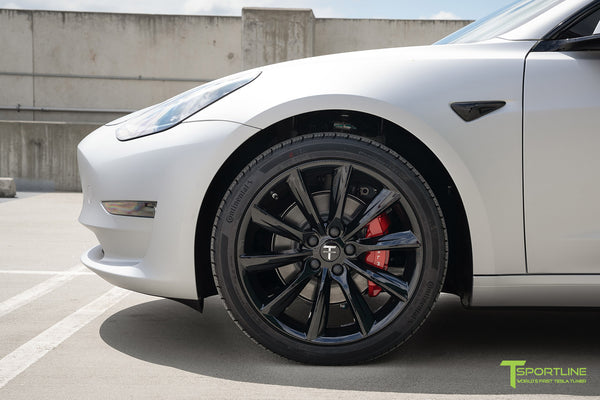 Matte Silver Tesla Model 3 with Gloss Black 19 inch TST Turbine Style Wheels by T Sportline 1