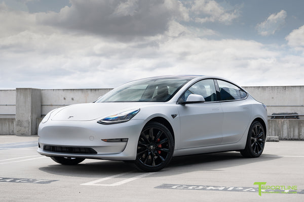 Matte Silver Tesla Model 3 with Gloss Black 19 inch TST Turbine Style Wheels by T Sportline 4