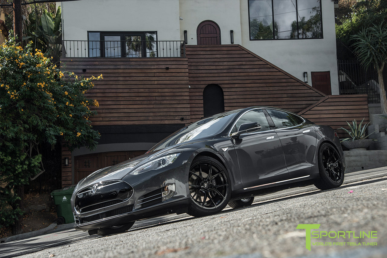 Midnight Silver Metallic Tesla Model S 1.0 with Gloss Black 21 inch TS115 Forged Wheels