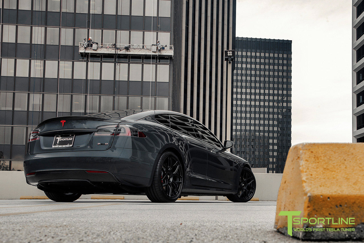 Midnight Silver Metallic Tesla Model S 1.0 with Matte Black 21 inch TS117 Forged Wheels 1