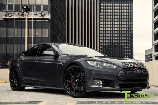 Midnight Silver Metallic Tesla Model S 1.0 with Matte Black 21 inch TS117 Forged Wheels 2