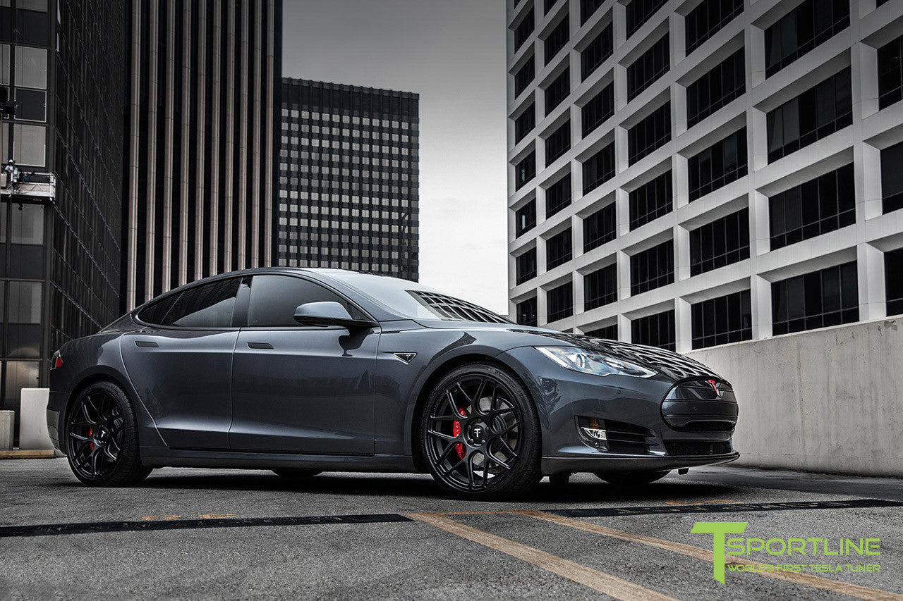 Midnight Silver Metallic Tesla Model S 1.0 with Matte Black 21 inch TS117 Forged Wheels 3