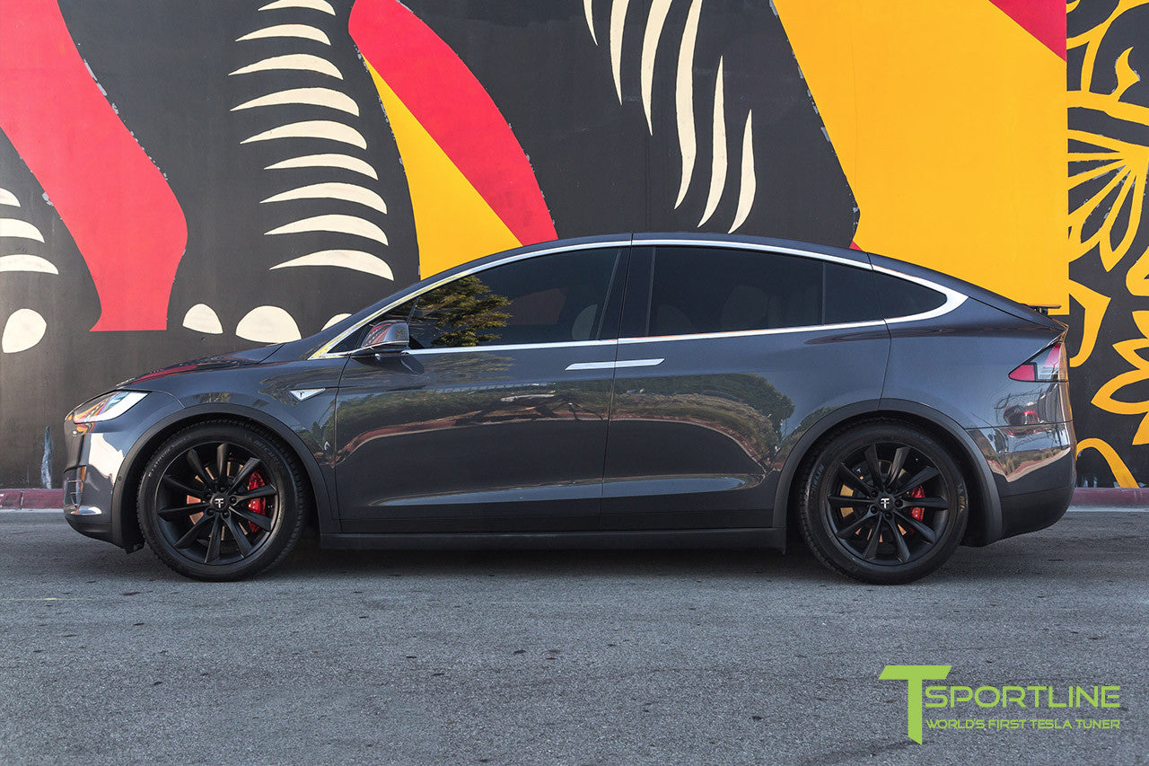 "Midnight Silver Metallic Model X with 20"" TST Tesla Wheel in Matte Black"